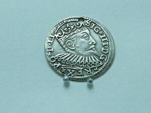 Poland,SIGISMUND III VASA.3 Groschen,silver.1598 year,Riga. 22mm;2.45g.VF.Scarce