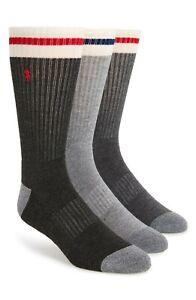 POLO RALPH LAUREN Men's 3-Pack Ivory Stripe Sport Crew Socks Grey Size 10-12