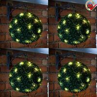 2 x 28cm Solar Power 20 LED Topiary Ball Hanging Garden Light Ornament Lights
