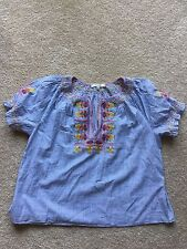 Authentic Madewell embroidered penny peasant top Sz X-Large, brilliant royal $98