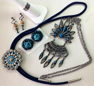 Vintage Costume Jewelry Lot Earrings Runway Necklace Ring Lariat Blue Turquoise