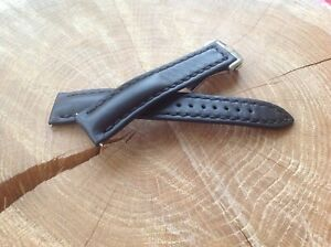 Watch band for Omega 20mm HANDMADE black + Deployment Clasp