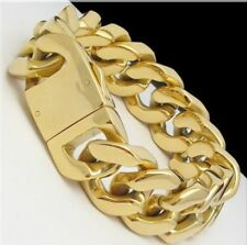 Fashion Mens Gold Tone Stainless Steel Cuban Curb Chain Bracelet 20mm 8.5inch
