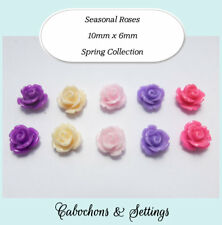 Resin Cabochons 5 Pairs 5 Colours Spring Retro Flowers