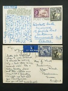 FIJI QE2 POSTCARDS ENGLAND WRITTEN BY VISITOR (1 x MIXED FRANKING)