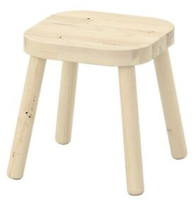 White Wash Wooden Rectangle Small Stool Flisat Children's Stool New/Solid Wood