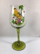 Large Green Stemmed Wine Glass With Hand Painted Yellow Birds