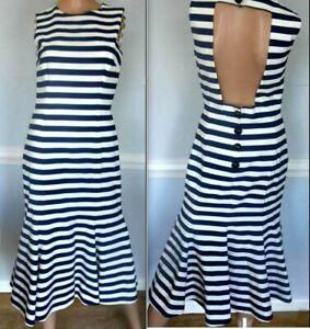 Dolce & Gabbana Open Back Striped Blue White Nautical Spring Dress US 0 2  IT 38