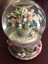 San Francisco Music Box Co. Basket Of Roses Musical Water Globe Vintage 1992