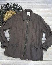 FLAX Jeanne Engelhart Brown Pinstripe Full Zip Linen Jacket Top Life Is Choice M