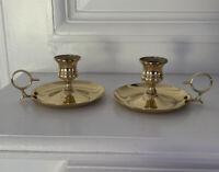 Set Of 2 Vintage Gold-tone Handle Candle Holder Votive Taper Tabletop Decor