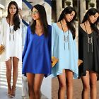 Sexy Women Chiffon Casual V Neck Long Sleeve Party Cocktail Short Mini Dress Top