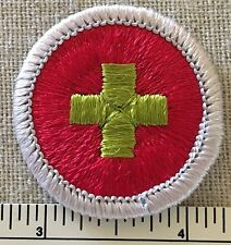 Boy Scouts FIRST AID Merit Badge PATCH Nice Scout PLASTIC BACK BSA Insignia