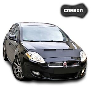 Hood Bra Fiat Bravo 2 CARBON Front End Car Mask Cover Bonnet Stone protection