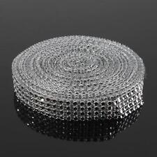 3m / 3 Rows Silver Diamante Ribbon Mesh Trim Cake Rhinestone Effect Bridal Craft