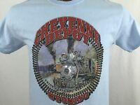 Cheyenne Depot Wyoming Blue Graphic T Shirt 100% Cotton M Medium