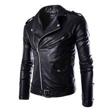 Cool Men's PU Leather Biker Motorcycle Coat Jackets Outwear Slim Fit Warm Tops