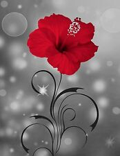 Red Gray Wall Art/ Modern Floral/Bathroom/Bedroom Home Decor Matted Picture