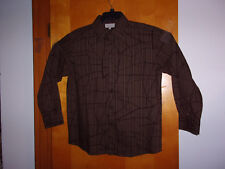 "NEW  MEN'S ""EIGHTY EIGHT "" BROWN w/ BLACK & GOLD PRINT L/S  SHIRT  sz.LARGE"