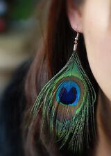 Fashion New Lady Girl Elegant Long Peacock Feather Eye Clip On Drop Earrings Hot