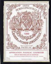 PAUILLAC 2EME GCC ETIQUETTE CHATEAU PICHON LONGUEVILLE BARON 1999 75 CL  §23/12§