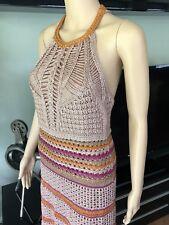 NEW MISSONI Sexy Halter Crochet Metallic Knit Dress