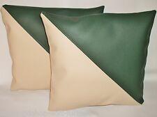 "2 Green & Cream Diagonal en cuir synthétique housses de coussin design 16"" Diffusion Oreillers"