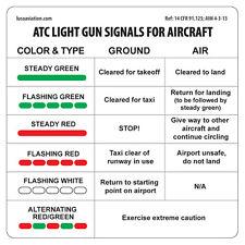 ATC Light Gun Signals For Aircraft Placard 2-PACK, Sticker Decal Pilots Aviation