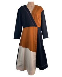 BNWT WAREHOUSE black tan brown cream colour block midi dress size 10 RRP £59