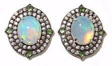 Rarities :Carol Brodie Ethiopian Opal ,Tsavorite & Zircon Sterling Stud Earrings