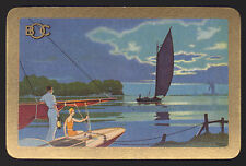 1 Single VINTAGE Swap/Playing Card ADV BOC SAIL BOAT DECO COUPLE WINDMILL Gold