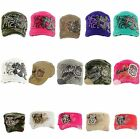 Cap RHINESTONE Hat Women's Vintage Tear Stud Cadet Military Embroidered 3 Camo