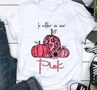 Halloween Pumpkin In October We Wear Pink Tshirt Women White M - 3XL