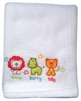 SAFARI FRIENDS Pram Buggy Pushchair EMBRIODERED Baby Blanket Unisex Baby Gift