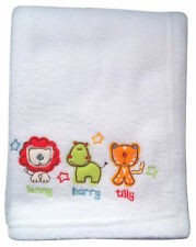 SAFARI FRIENDS Pram Buggy Pushchair EMBRIODERED Baby Blanket Unisex Baby Gift