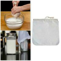 Strainer Bag Food Milk Nut Organic Cotton Reusable Grade 30X30CM Filter Lin H4W8