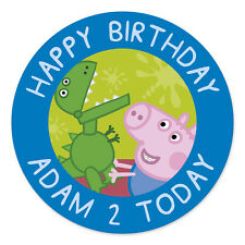 GEORGE PIG PERSONALISED EDIBLE ICING IMAGE PARTY CAKE TOPPER ROUND