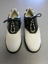 """Footjoy """"Greenjoys"""" white and black leather golf shoes, Women's 9.5 M"""