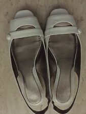 Ladies Cole Haan White  Patent Leather Open Toe Slingbacks Kitten Heels 6.5