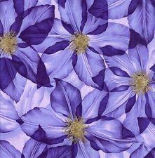 Große Clematis Blüten Mauve Stoff 50x56 cm f902-2 100% Baumwolle