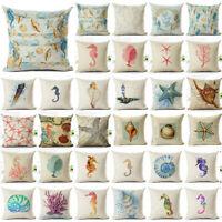 Ocean Animal Horse Cushion Cover Throw Pillow Case Linen Cotton Home Decor