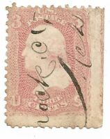 1861 EFO R MARGIN IMPERF 3 CENT Washington US STAMP Scott 64a Fancypen Cancel VF