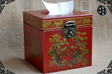 China Old antique wooden Dragon Phoenix Bronze lock Tissue box