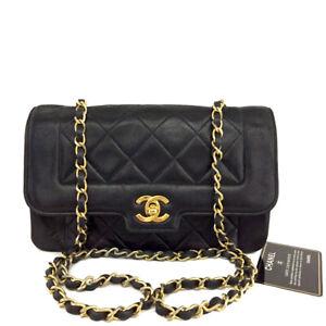 CHANEL Quilted Matelasse CC Logo Lambskin Chain Shoulder Bag Black /B1066