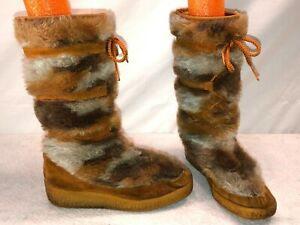 VTG. SNOWLAND FAUX FUR SHERPA LINED WINTER SNOW TALL MUKLUK BOOTS WOMEN'S SIZE 6