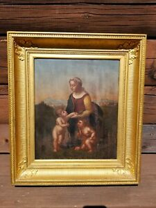 "Original Oil Painting of Raphaels ""La Belle Jardiniere"" Antique Unsigned"