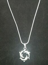 Dolphin Necklace Pendant on Sterling Silver Chain Infinity Circle of Dolphins