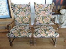 Zwei große Lehnsessel, Ohrenbackensessel, Sessel, frisch gepolstert um 1900