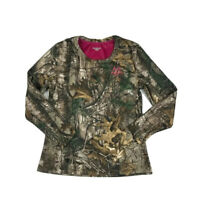 Realtree Camouflage Hunting Shirt Womens L 42-44 Brown/Pink Long Sleeve