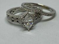 Marquise Diamond Wedding Set Engagement Ring Wedding Bands 10k Solid White Gold